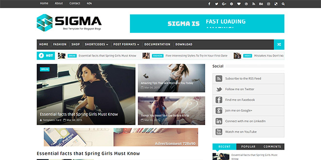 Sigma Magazine Blogger Template