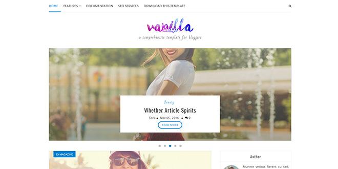 Vanilla Lifestyle Blogger Template