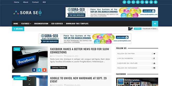 Sora Seo Blogger Template